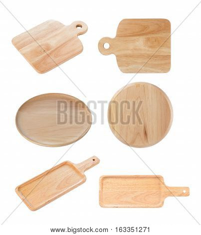Closeup wooden plate isolated on white background