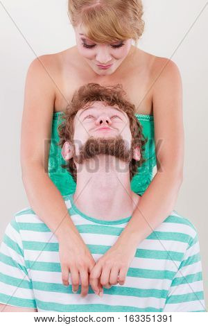 Funny Loving Couple Making Silly Face