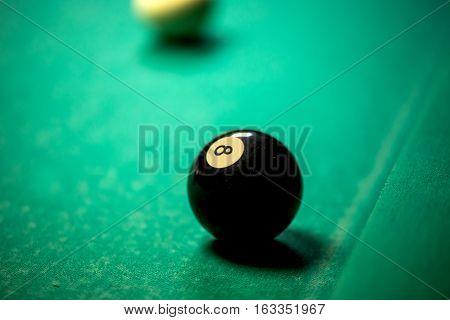 Billiard balls in pool table. billiard game