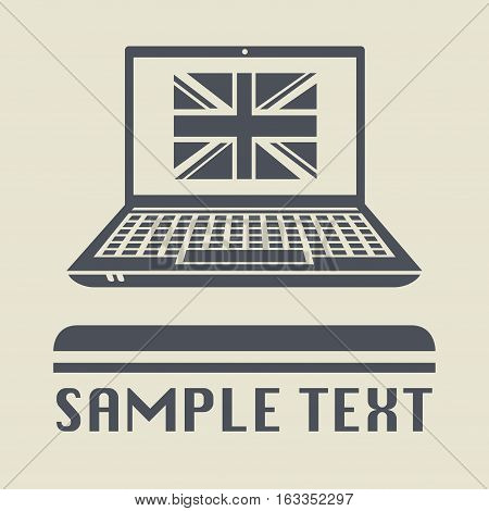 Laptop or notebook computer with UK flag icon or sign vector illustration