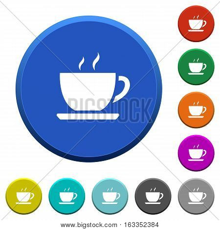 Cup of coffee round color beveled buttons with smooth surfaces and flat white icons