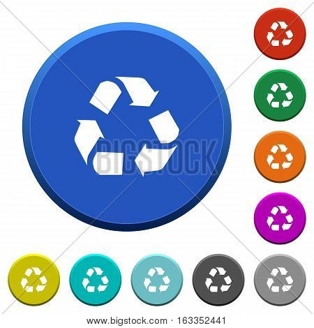 Recycling round color beveled buttons with smooth surfaces and flat white icons