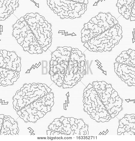 Brainstorm. Seamless pattern with the human brain and lightining. Creative concept of the human brain. Vector illustration