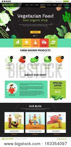 Best organic farm eco food shop of vegetarian products web page flat vector illustration