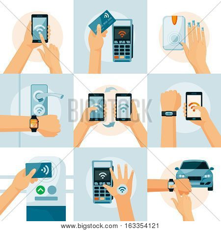 NFC technology flat style concept with smartphones in hands payment information transfer and identification isolated vector illustration