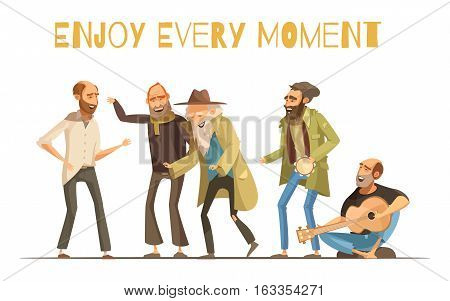 Cheerful homeless people design in cartoon and retro styles with singing men and music instruments vector illustration