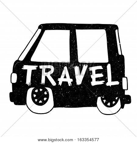 Travel, Vintage hippie time decorated van. Vector illustration