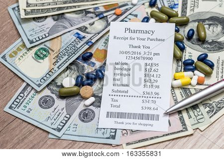 Cost of medicine - blank money and pen
