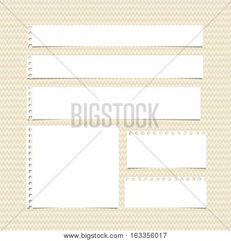 White horizontal torn note, notebook, copybook paper stripes stuck on brown wavy pattern.