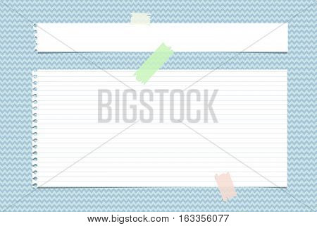 White horizontal torn note, notebook, copybook paper stripes stuck with sticky tape on blue wavy pattern.