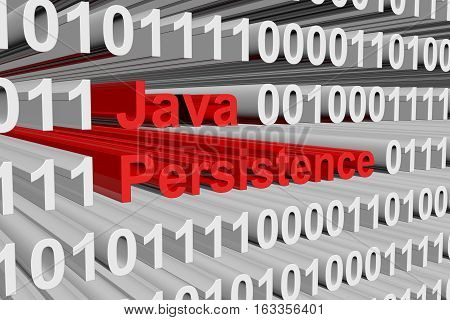 Java Persistence presented in the form of binary code 3d illustration