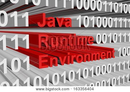 Java Runtime Environment presented in the form of binary code 3d illustration