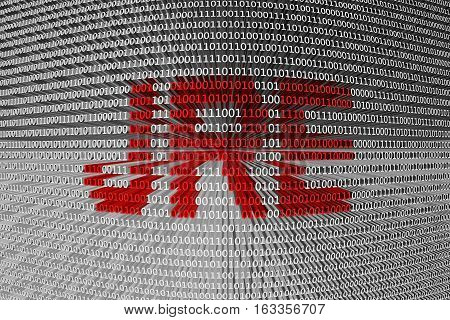 jre is presented in the form of binary code 3d illustration