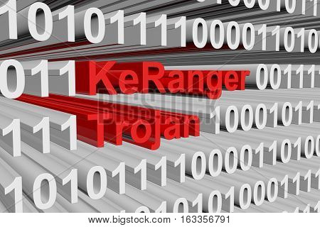 KeRanger trojan is presented in the form of binary code 3d illustration