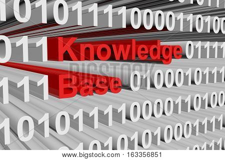 knowledge base in the form of binary code, 3D illustration