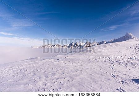 Beautiful winter landscape Tatra Mountains during inversion