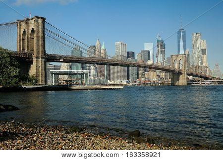 A view of Brooklyn Bridge against Manhattan skyline. Dec 2016