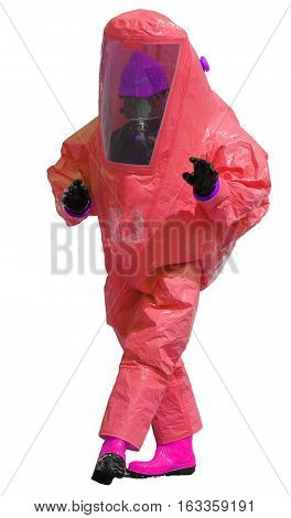 Man With Red Protective Suit With Breathing Apparatus And Fuchsi