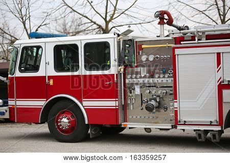 Trucks Of The American Firemen Ready For Emergencies