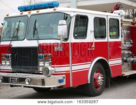 Fire Engine Of The American Firemen Ready For Emergencies
