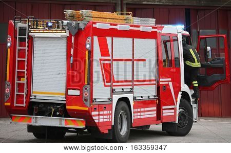 Fire Truck In An Emergency And Active People