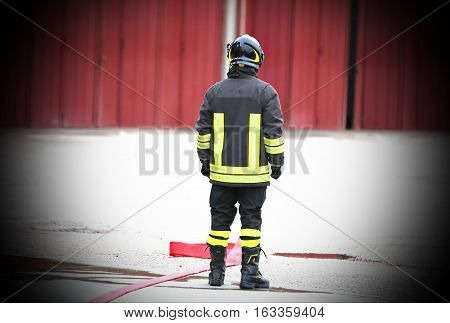 Lone Firefighter After Extinguish Fire