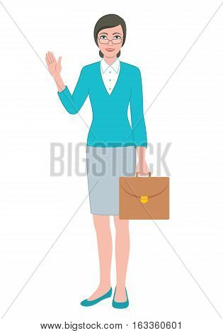 Color illustration of the friendly teacher woman holding a briefcase bag