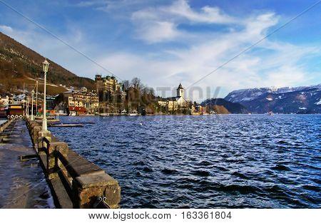 Village St Wolfgang on the lake Wolfgangsee at winter - Salzburg, Austria