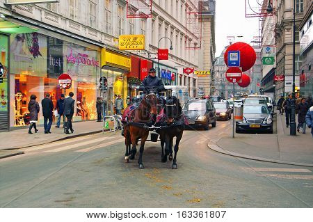 VIENNA, ASTRIA - DECEMBER 29, 2007: Rotenturmstrasse is decarated for New year celebration in Vienna, Austria