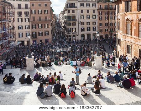 Tourist On Spanish Steps In Rome City