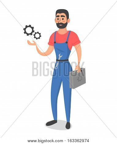 Conceptual illustration of master or foreman, with instruments. Cartoon flat vector style
