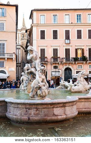 People Near Fountain Of Neptune In Rome