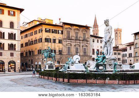 Piazza Della Signoria And Fountain In Florence