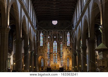 Nave Of Basilica Di Santa Croce In Florence