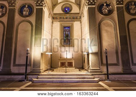 Altar In Pazzi Chapel In Basilica Di Santa Croce