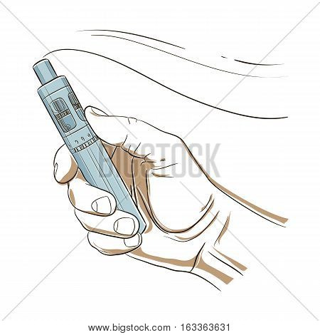 Vaporize Pen device in his hand. Electronic Cigarette smoke and steam. Vaping symbol on an isolated background. Vape Icon.  Vector illustration.