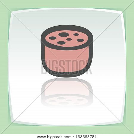 Vector outline pork, beef, mutton meat sausage cutting food icon on white flat square plate. Elements for mobile concepts and web apps. Modern infographic logo and pictogram.