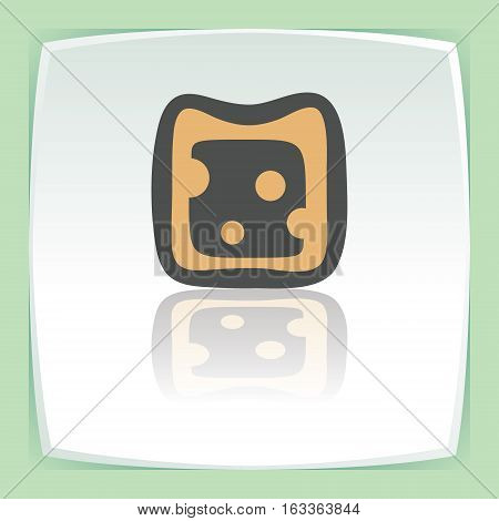 Vector outline cheese sandwich food icon on white flat square plate. Elements for mobile concepts and web apps. Modern infographic logo and pictogram.