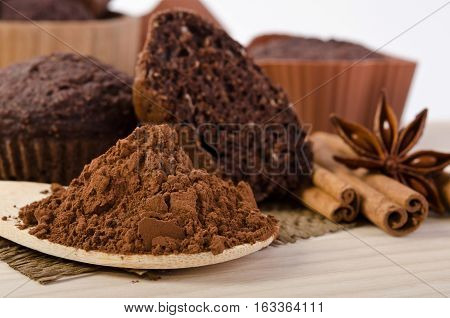Cinnamon Stick, Star Of Anise, Cocoa Powder And Chocolate Muffin