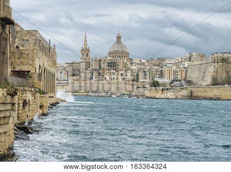 View toward the historic city of Valletta Malta