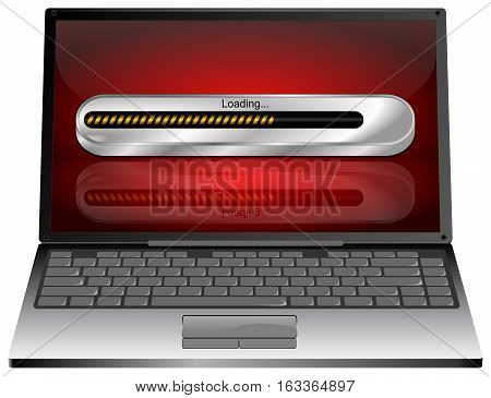 Laptop computer with Loading bar - 3D illustration