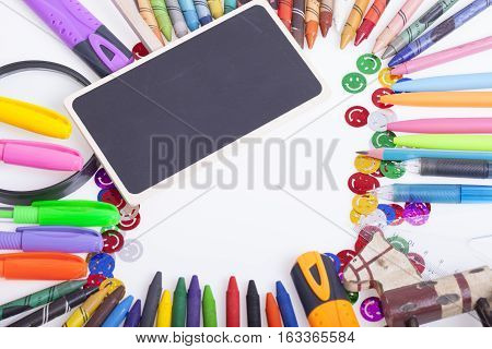 Childrens school and office supplies on the table Selective focus and small depth of field