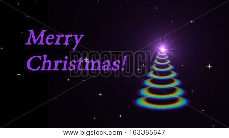 Animated Bright Christmas tree with illumination and a shining star. This image with an alpha channel- that makes it easy to put the background