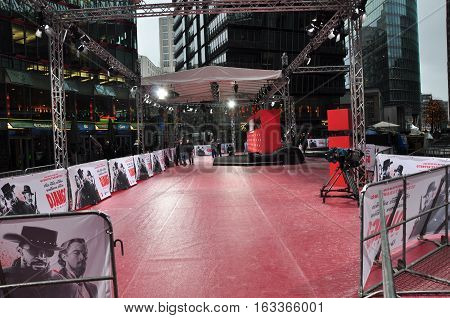 Berlin Germany - January 08 2013: red carpet and stage in theater for hollywood movie premiere of Django Unchained on ceremony festival