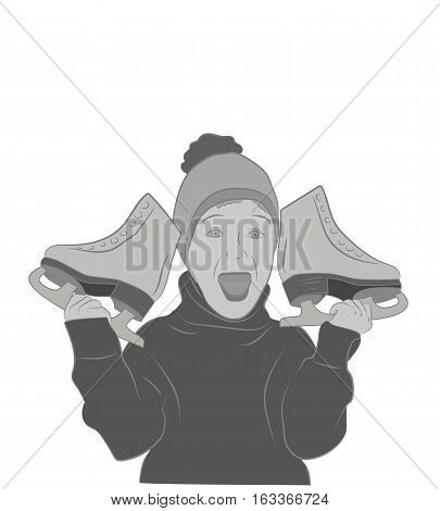 joyous boy holding a skate. vector illustration.