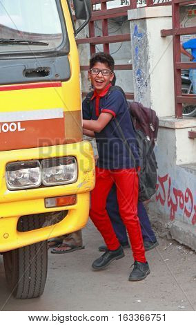 Boys Are Taking On School Bus In Hyderabad, India