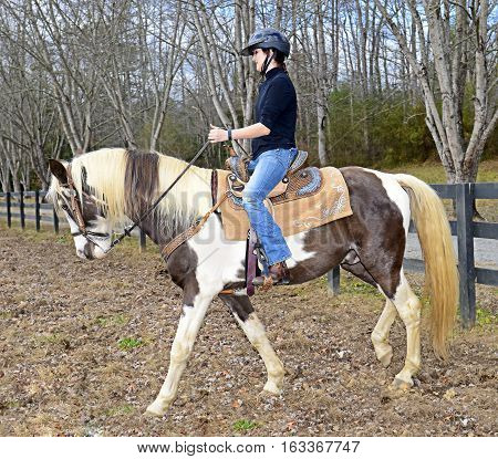 Beautiful teen girl on a horse in a pasture getting ready to ride trails.