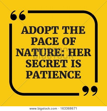 Motivational Quote. Adopt The Pace Of Nature: Her Secret Is Patience.
