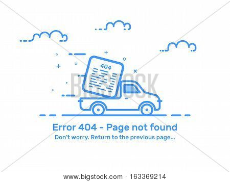 Vector Illustration of background template web page. Concept error 404 page not found in flat line style for website with car. Outline blue isolated object.