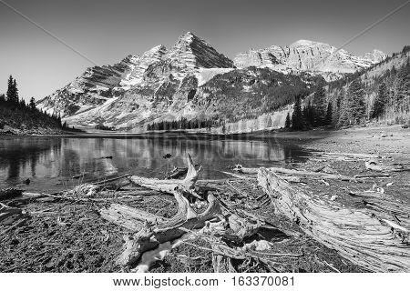 Black And White Photo Of Maroon Bells Landscape, Colorado, Usa.